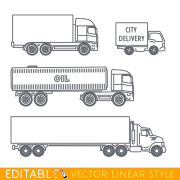 Transportation icon set include Long semi truck Road tanker City delivery van and Lorry. Editable vector graphic in linear style.