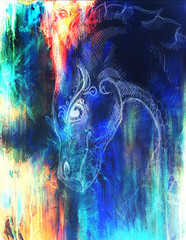 pencil drawing dragon and Color Abstract background.