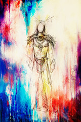 drawing of mystical indian woman in beautiful dress and color effect.
