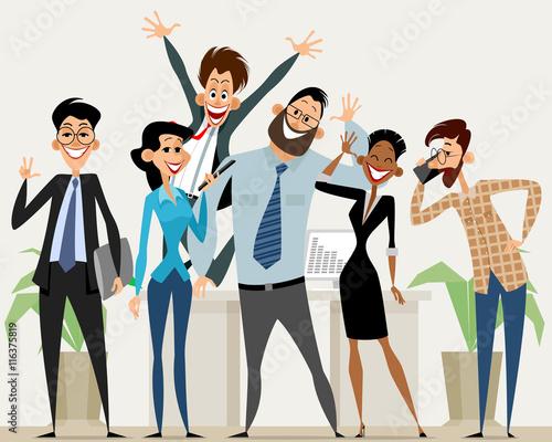 business team in office fichier vectoriel libre de droits sur la banque d 39 images. Black Bedroom Furniture Sets. Home Design Ideas