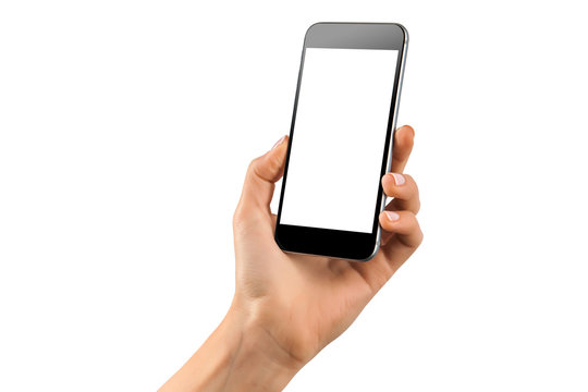 Mockup of feamle hand with a black cellphone with white screen isolated