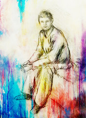 sitting young man drawing, eye contact, paper background.