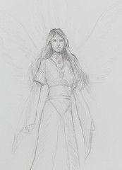 drawing of mystical angel woman in beautiful historic dress.