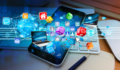 Tech devices connected to each other by mobile phone