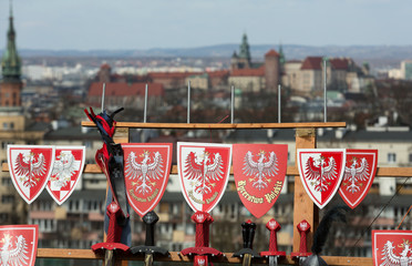 Rekawka - Polish tradition, celebrated in Krakow on Tuesday after Easter.The emblem national Polands against the background of Wawel