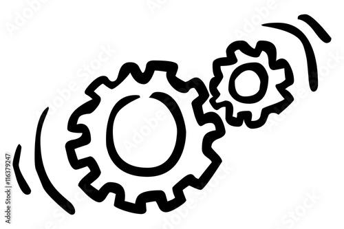 Doodle Icon Zwei Drehende Zahnräder Schwarz Weiß Gezeichnet