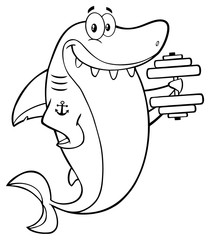 Black And White Smiling Shark Cartoon Mascot Character Training With Dumbbells