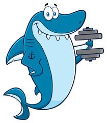 Smiling Blue Shark Cartoon Mascot Character Training With Dumbbells