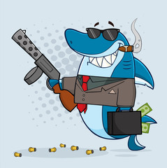Smiling Shark Gangster Cartoon Mascot Character Carrying A Briefcase Holding A Big Gun And Smoking A Cigar