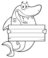 Black And White Happy Shark Cartoon Mascot Character Holding A Wooden Blank Sign