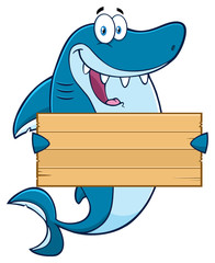Happy Blue Shark Cartoon Mascot Character Holding A Wooden Blank Sign
