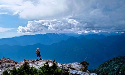 Hiking near Vancouver. Storm clouds at Mount Seymour Provincial Park, North Vancouver, British Columbia, Canada.