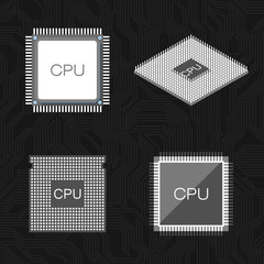 Set of CPU icons on black background