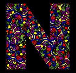 Illustration of  fantasy Letter N on black background. Vector image.