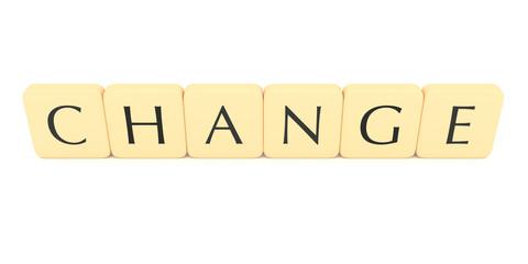 Letter tiles: change, 3d illustration