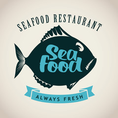 Vector banner with a picture of fish for seafood restaurant