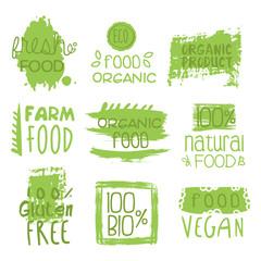 Farm Vegan Food Green Set Of Label