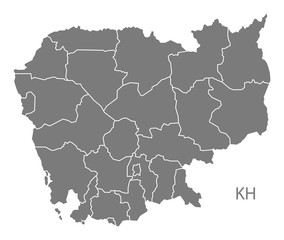 Cambodia provinces Map grey