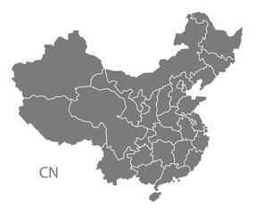 China provinces Map grey