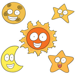 vector set of sun, moon and star