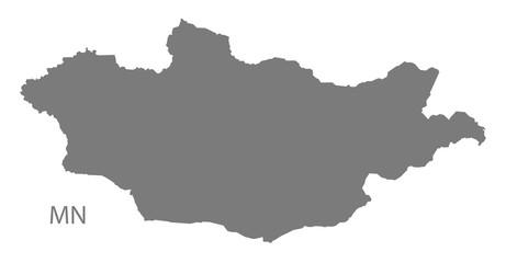 Mongolia Map grey
