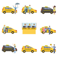 Taxi Cars, Drivers And Clients Set