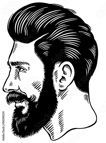 Design Template With Bearded Man In A Helmet And Goggles For Logo Label T