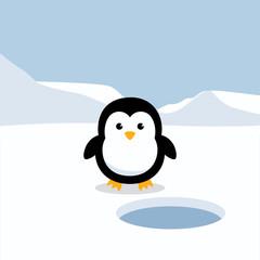 Penguin standing on white snow in Antarctica's winter background. Cute Penguin cartoon flat design vector illustration.