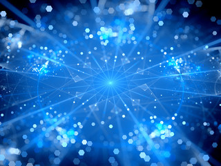 Blue glowing big data hubs