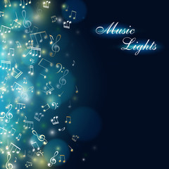 Music background with colorful light effect and falling notes.