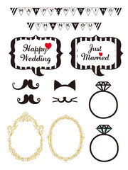 Wedding design elements for party props isolated on white background. Photo booth and scrapbooking vector set for Wedding.