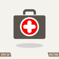 Medical first aid kit flat icon isolated on light background. Medicine chest symbol. Vector illustration for web and commercial use.