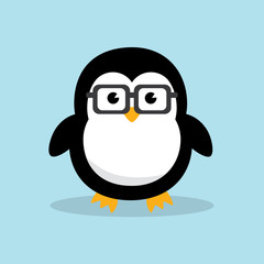 Cute Geek Penguin character. Funny penguin nerd with geek glasses on sky blue   background. Flat design vector illustration.