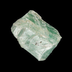 PIece of green talcum mineral isolated on black background