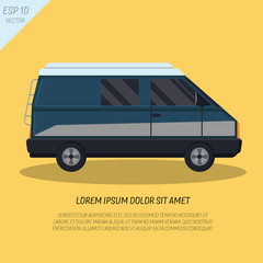 Cool passenger minivan van in flat style on yellow background, side view. Retro design. EPS 10. For travel. Vector illustration. Place for text.