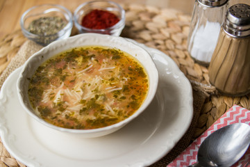 Traditional turkish chicken broth soup