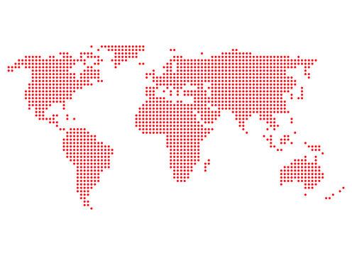 Weltkarte rote Punkte