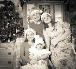 Imitation of  retro photo of happy family