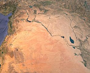 Siria, Iraq, mappa medio oriente,  vista satellitare, ricostruzione 3d