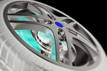 Car wheel close-up view with focus and photo negative effects. 3d illustration
