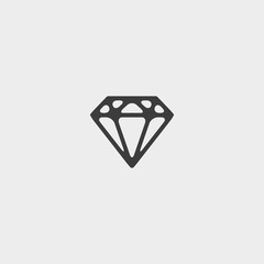 Diamond Icon in a flat design in black color. Vector illustration eps10