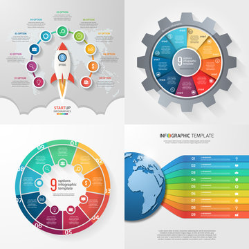 Four infographic templates with 9 steps, options, parts, processes