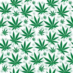 Medical cannabis seamless texture. Hemp background. wallpaper. Vector illustration