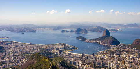 Panoramic view of sunset in Rio de Janeiro . View from the top.