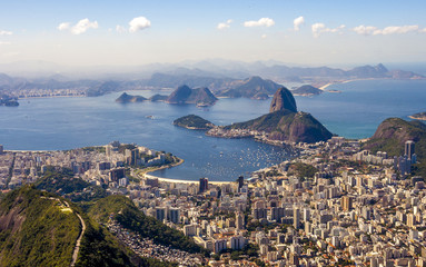 Sunset in Rio de Janeiro . View from the top.