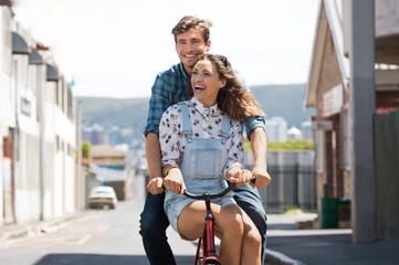 Couple enjoying bicycle ride