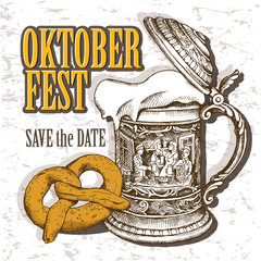 Oktoberfest card. Image of the vintage German mug with beer and pretzel. Vector illustration.