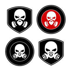 skull in a respirator (chemical protection) logo template