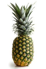 Whole pineapple isolated standing on white.