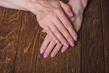 Light pink nail art